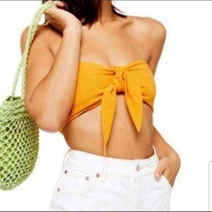 TOPSHOP NWT Yellow Bandeau Top Size 8